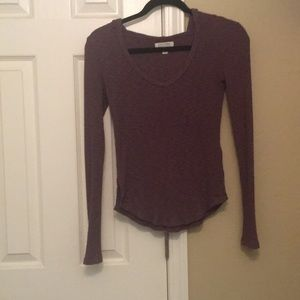 AE American Eagle purple ribbed hooded henley